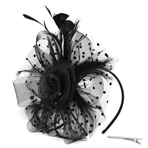 Xflyee Fascinators Hat Flower Mesh Ribbons Feathers Tea Party Cocktail Headband for Girls and Women (Black / 7 Inch Diameter) -