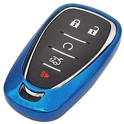 Blue Soft TPU Smart Key Fob Case Holder Jacket Protector for 2016 2020 2020 2020 Chevy Malibu Camaro Cruze Traverse Spark Sonic Volt Bolt: Automotive