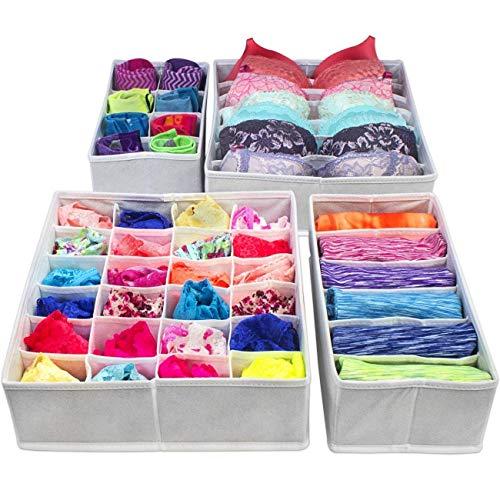 PUBAMALL Closet Underwear Organizer Drawer Divide by para ropa interior, sujetadores, calcetines, corbatas, pañuelos (Un...