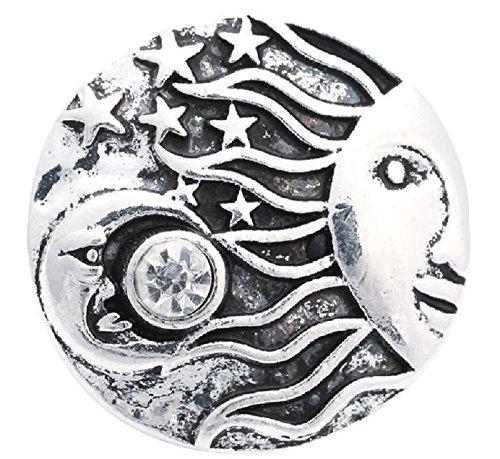 oon Stars Rhinestone Silver Snap Button Charm ()