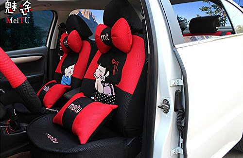 20pcs/SET new 2016 luxury Women love cartoon Lover Seat Covers for cars Front & Back car covers four seasons Universal car seat cover car interior red & Black V5611 by Maimai88 (Image #1)