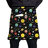 BFWQAPRON Comets And Constellations Stars With Polka Dots Earth Sun Saturn Mars Solar System Apron With Pocket Half-Length Short Waist Apron