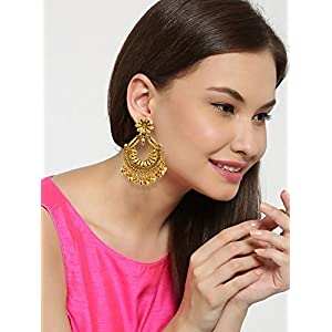 Zaveri Pearls Ethnic Chandbali With Ghungroo Drops Earring-ZPFK6616