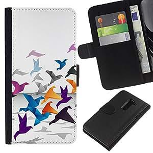 KLONGSHOP // Tirón de la caja Cartera de cuero con ranuras para tarjetas - Grulla de origami - LG G2 D800 //