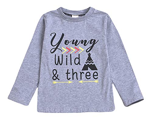 YOUNGER STAR 1PC Children Baby Boy Gray Letter Print Short Sleeve T-Shirt Clothes Outfit (24 Months, Gray D)