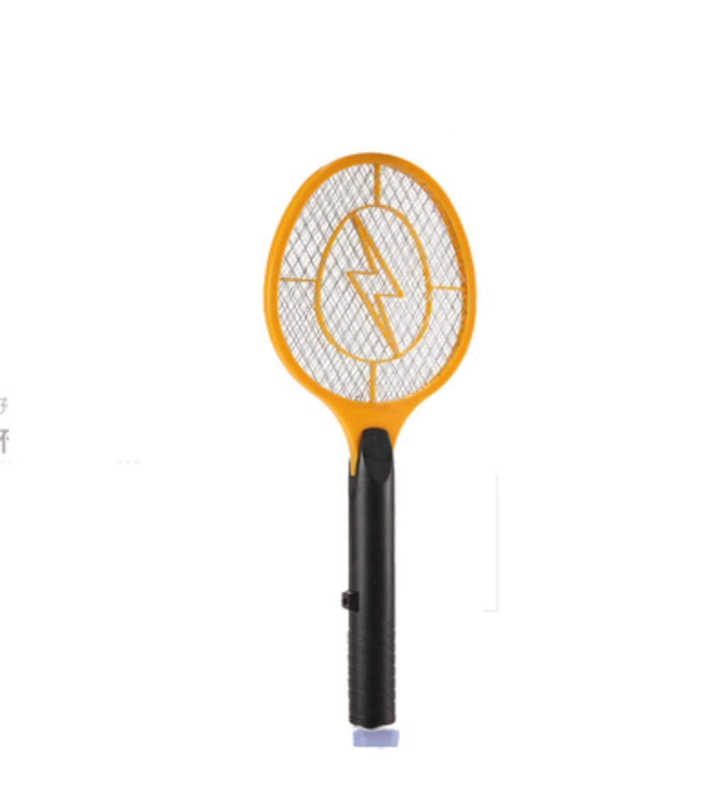 zcbgyks Swatter Electric Fly Replaceable Battery Electric Mosquito Swatter Dry Battery Type Three-Layer Safety Large Mesh Surface, Yellow by zcbgyks