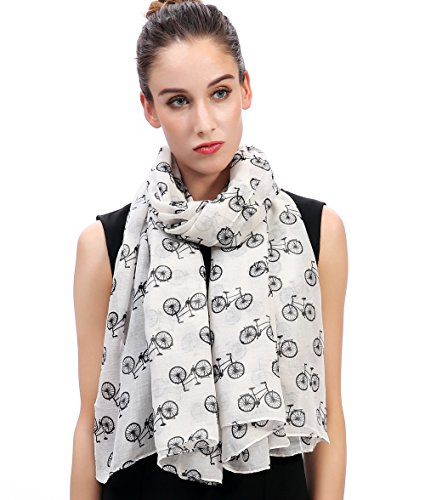 Lina & Lily Vintage Bicycles Bikes Print Women's Large Scarf Lightweight (White and (Bike Print)