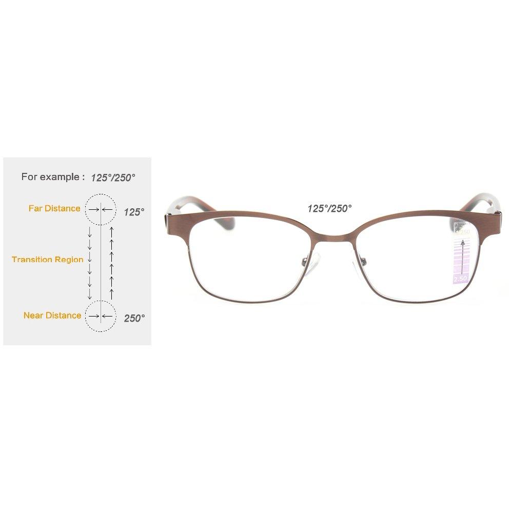 df5e6d0116be Amazon.com  Progressive Multiple Focus Reading Glasses Multifocus Glasses  Multifocal Metal Frame Reades (Up+1.50