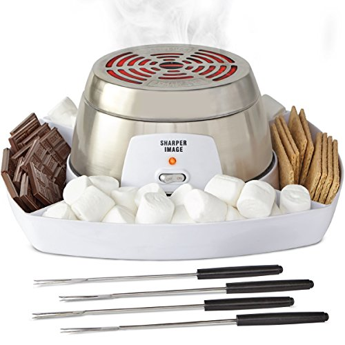 Sharper Image Electric Tabletop S'mores Maker for Indoors, 6 Piece Set Includes Stainless Steel Range, Serving Tray w/Compartments for Chocolate, Graham Crackers, Marshmallows, 4 Roasting Forks ()