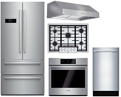 "Bosch 5-Piece Stainless Steel Kitchen Package with B21CL80SNS 36"" French Door Refrigerator, NGM8055UC 31"" Gas Cooktop, HBL8451UC 30"" Single Wall Oven, DPH30652UC 30"" Under Cabinet Hood, and SPX68U55UC"