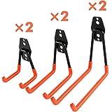Ihomepark Heavy Duty Garage Storage Utility Hooks for Ladders & Tools, Wall Mount Garage Hanger & Organizer – Tool Holder U Hook with Anti-Slip Coating (6 Pack – Orange) Review