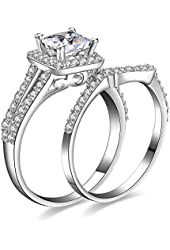 Jewelrypalace Women's 1.3ct Princess Cut Cubic Zirconia Anniversary Bridal Wedding Band Engagement Ring Sets 925 Sterling Silver