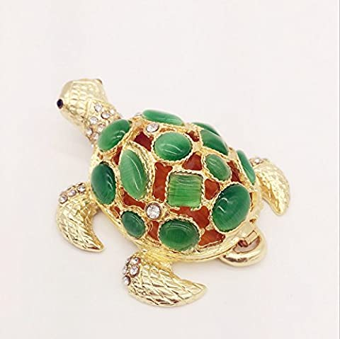 Waltz&F Golden Turtle Jewelry Box w/ Green Ornament Trinket Box Hinged Figurine Collectible Ring Holder with Gift - Turtle Hinged Trinket Box