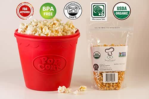 Microwave Popcorn Popper Bundle- 2 Pc Kit includes FREE USDA Certified Organic Non-GMO Popcorn Kernels-BPA free FDA Approved 2 Quart capacity, by Savvy Gourmet Home and Kitchen™ Lifetime Warranty