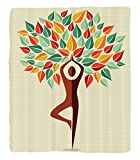 Chaoran 1 Fleece Blanket on Amazon Super Silky Soft All Season Super Plush Yoga Decor Collection Humanhaped Yoga Exercise Tree Fantasy Folklore Imagination Mystery Oriental Image Fabric et Mint Orange