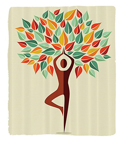 Chaoran 1 Fleece Blanket on Amazon Super Silky Soft All Season Super Plush Yoga Decor Collection Humanhaped Yoga Exercise Tree Fantasy Folklore Imagination Mystery Oriental Image Fabric et Mint Orange by chaoran
