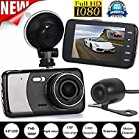OVERMAL 4 Dual Lens Camera HD 1080P Car DVR Vehicle Video Dash Cam Recorder G-Sensor