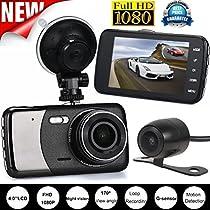 OVERMAL 4'' Dual Lens Camera HD 1080P Car DVR Vehicle Video Dash Cam Recorder G-Sensor