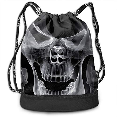 - Homlife Unisex Multifunctional Bundle Backpack Portable Shoulder Bags Travel Sport Gym Bag - Yoga Runner Daypack Shoe Bags - Smog Skull Middle Finger Print Drawstring Backpack