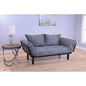 Somette Eli Spacely Daybed Lounger with Suede Grey Mattress