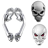Set Left & Right 1.25'' 32mm Long Angled Highway Pegs Mount + 2pcs 3D Metal Skull Sticker (1X Red Eye + 1X Black Eyes) For Harley Touring