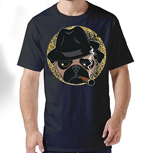 HFLOD PLODFC Rottweiler With Cigar Wearing Aviator Sunglass Men's Classic Short-Sleeve Crewneck Cotton - Reynolds Sunglasses