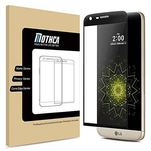 LG G5 Tempered Glass Screen Protector,Mothca® 3D Curved Edge Full Coverage Premium Ultra Thin 0.2mm Thickness 9H Hardness Full Body Skin Invisible Shield Anti-Scrath Protective Film (Tempered Glass)