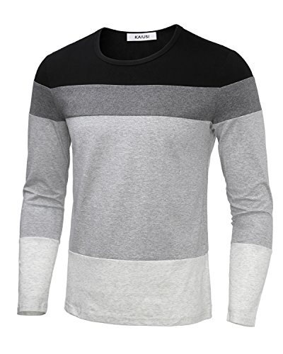 KAIUSI Mens Casual T, Soft Breathable Cotton Tops Color Block Stitch Slim Fit Crew Neck Long Sleeve T Shirt Black M