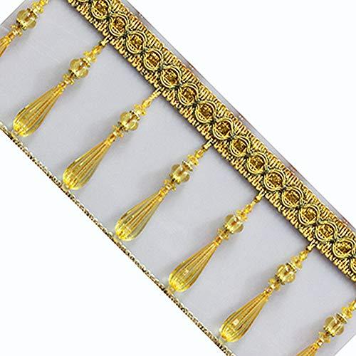 (Wildgirl Window Curtain Crystal Pendant Braid Beading Fringe DIY Gimp 1m (Gold))