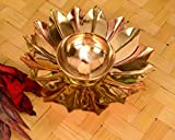 Designer Decorative Kamal Patta Pure Brass Akhand Diya for Puja and Home Decor (Length 4 inches & Height 2 Inches)