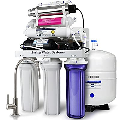 iSpring RCC1UP-AK 7-Stage Maximum Performance Under-Sink Reverse Osmosis Drinking Water Filtration System with Booster Pump, Alkaline Remineralization Filter and UV Sterilizer