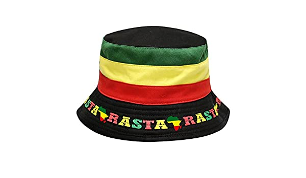725725bbc94b3 City Hunter Bd1300 Emoji 100 Jamaican Rasta Bucket Hat at Amazon Men s  Clothing store