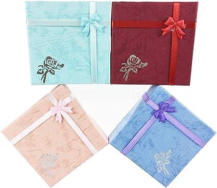 Homeofying - Caja cuadrada de papel para joyas, collares, pulseras, regalos de boda, compromiso, anillos, caja para proposición de ceremonia de boda para regalo de joyería: Amazon.es: Belleza