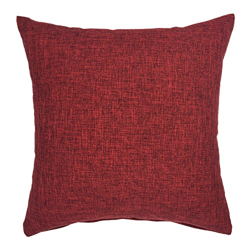 YOUR SMILE Solid Color Decorative Cotton Linen Throw Pillow Case Cushion Cover Pillowcase for Couch Sofa Bed,22 x 22 Inches,Burgundy 18' Solid Poly Cotton