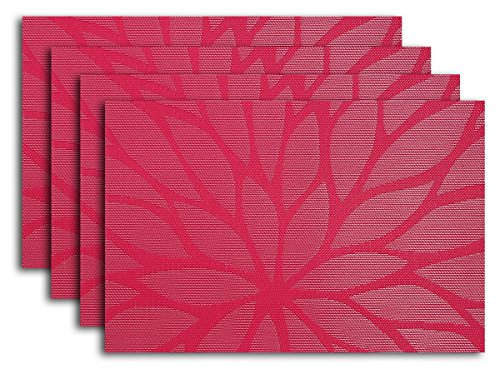 Placemat Set of 4/6 Big Daisy Flower Kitchen Table Decor Woven Vinyl Table Placemats Set Home Dinner Decorative Reversible by Secret Life(4, Daisy Pink)