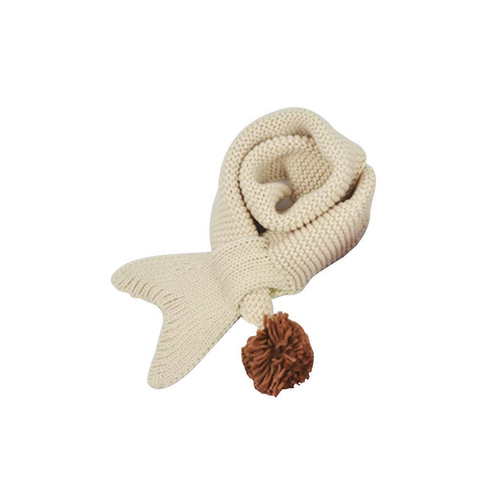Creative Children Knit Scarf Mermaid Tail Neck Wrap Neckwarmer Mermaid Scarf Winter Beige
