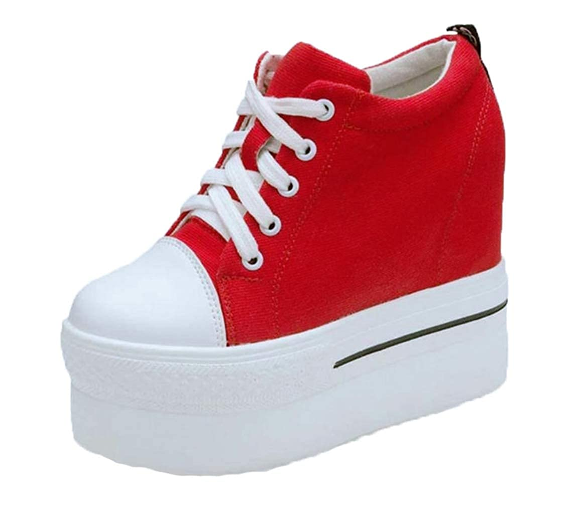 Amazon.com | Canvas Shoes Women Casual Sneakers Elevator Platform Shoes Female High Top Hidden Wedge Heels Ankle Boots Zapatillas Mujer | Fashion Sneakers