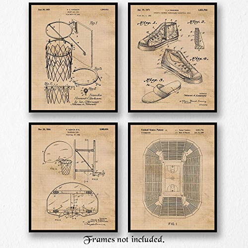 (Original Basketball Patent Art Poster Prints- Set of 4 (Four 8x10) Unframed Pictures- Great Wall Art Decor Gift for Home, Office, Garage, Man Cave, Gym, Student, Teacher, Coach, Athlete,)