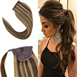 "Youngsee 14"" Real Hair Ponytail Extensions #4 Dark Brown Mixed #27 Caramel Blonde"