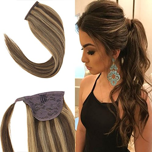 Youngsee 16inch Dark Brown with Caramel Blonde Wrap Around Ponytail Human Hair Extensions 80g Remy Straight Ponytail Clip in Hair Extensions