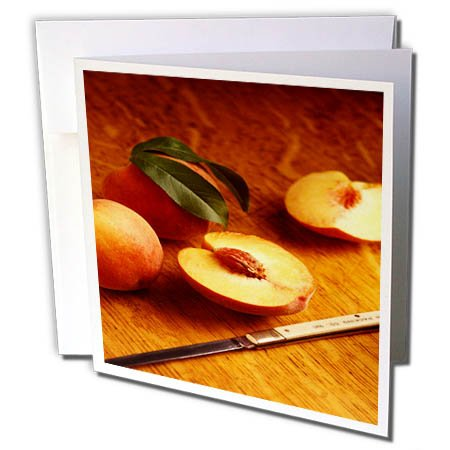 3dRose TDSwhite – Farm and Food - Food Fresh Cut Peaches - 12 Greeting Cards with Envelopes (gc_285140_2) by 3dRose