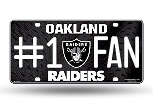 Zipperstop Oakland Raiders NFL #1 Fan Metal License Plate by Zipperstop