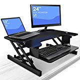 Sorbus Standing Desk with Push Button - Height Adjustable Sit-To-Stand Monitor Desk with Keyboard Tray, Dual Monitor Riser, Laptops, Tablets, etc, For Home or Office (32'' wide - Black)
