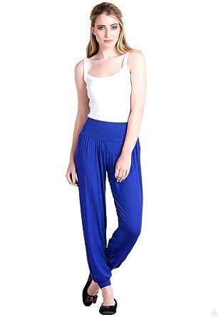 3b82d05fc90a Femmes Neuf Long Sarouel Bouffant Femmes Pantalon Sarouel Ceinture Élastique  Extensible Complet Leggings - Bleu Roi