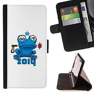 BullDog Case - FOR/HTC One M9 / - / frog prince fairytale animal nature blue crown /- Monedero de cuero de la PU Llevar cubierta de la caja con el ID Credit Card Slots Flip funda de cuer
