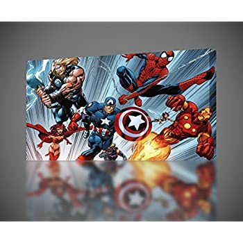 Avengers Wall Decor Edge Home Products Avengers Canvas With Led Lights On Wall Ideas Marvel Decor Comics