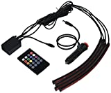 under light car - SurLight Car LED Lights 4pcs 72 LED DC 12V Multicolor Music Car Strip Light Interior LED Under Dash Lighting Kit with Sound Active Function and Wireless Remote Control, Car Charger Included