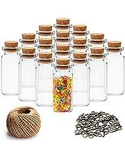 Mini glazen potten Flessen met kurkstoppen (60 stuks) - 10 ml miniatuur helder glas met 30 m touw, 60 stuks oogjethaken voor wensboodschappen glazen flesjes, doe-het-zelf-decoratie, bruiloftsgunsten