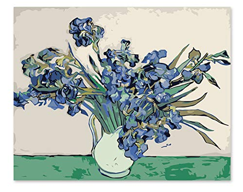Superlucky Digitales Ölgemälde Van Gogh Iris EIN berühmtes Gemälde Seiner eigenen Farbe DIY Handarbeit 40x50cm mit Rahmen B07K6LV9NZ | Ästhetisches Aussehen