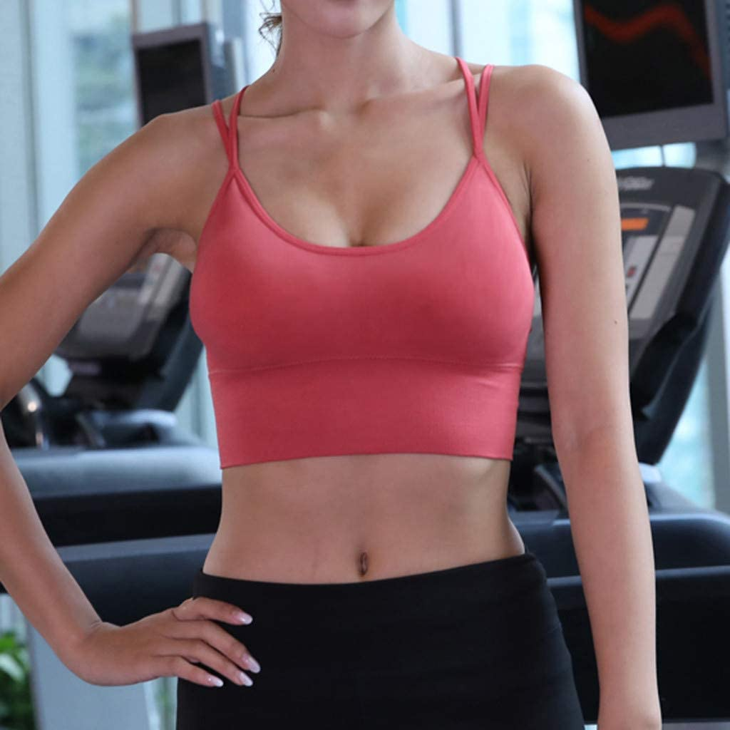 Womens Medium Support Strappy Back Wirefree Removable Cups Longline Yoga Sports Bra Crop Top S, Pink